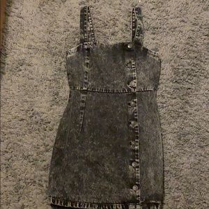 Distressed overall dress